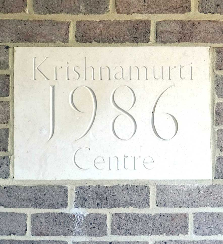 Commmemorative stone at the entrance of the Krishnamurti Centre