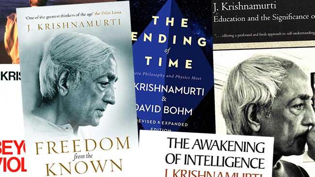 Several covers of Krishnamurti's books