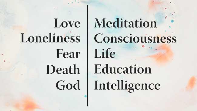 Banner for Krishnamurti's Key Topics