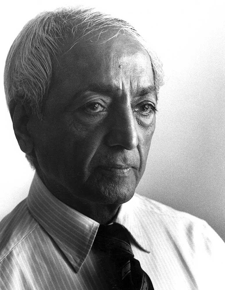Black and white portrait of Krishnamurti
