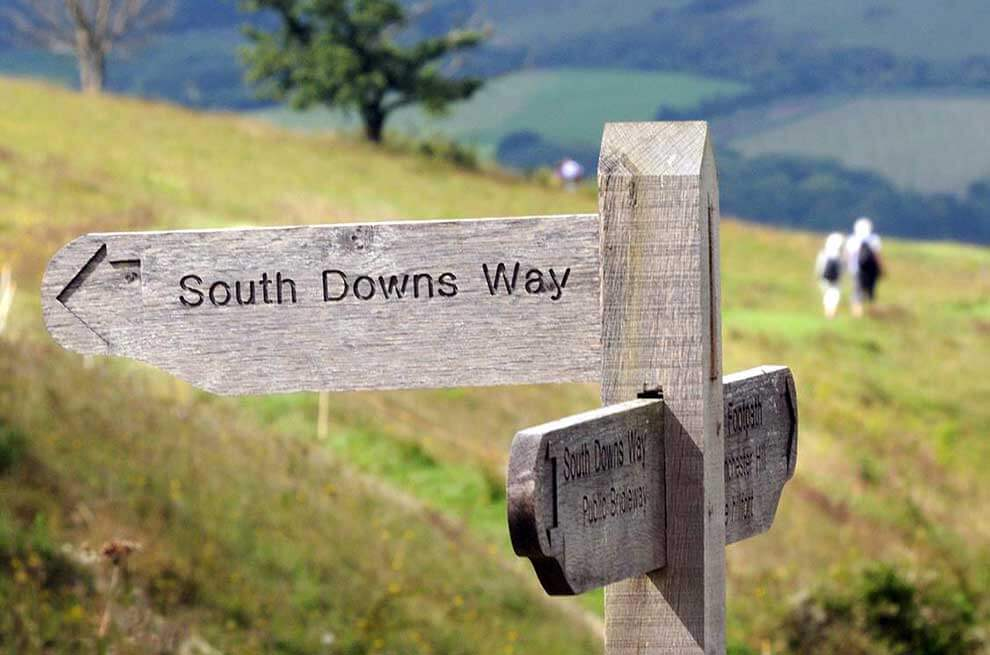 Sign marking the South Downs Way