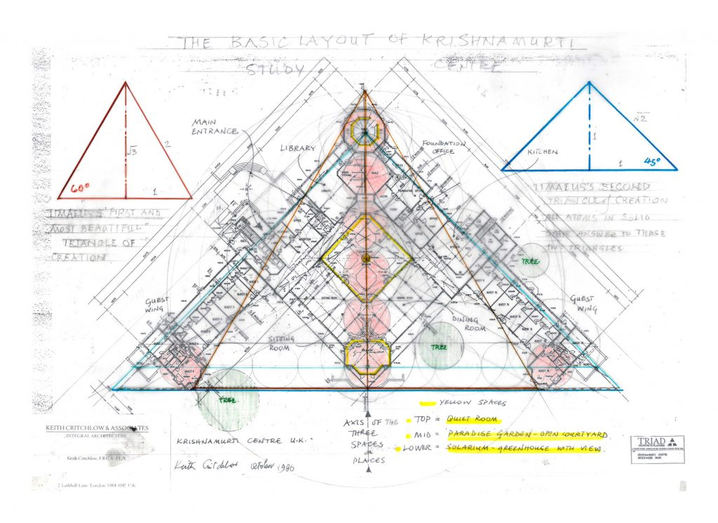 Keith Critchlow blueprint for the Krishnamurti Centre at Brockwood Park