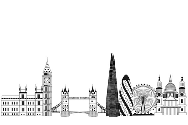 Illustration of the skyline in London